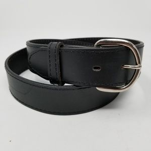 Black Genuine Leather Belt 34 Silver Tone Buckle